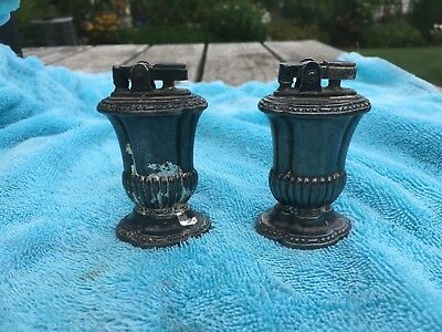 2 Vintage Ronson Mayfair Table Lighter Silver Plate