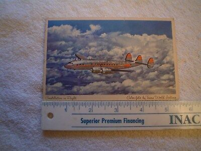 Trans World Airlines Constellation  Postcard In Flight From 1952