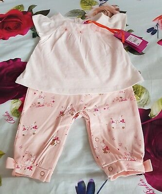 Baby Girls TED BAKER Glittery 🐰Bunny🐰 Print Romper Playsuit 0/3 months BNWT