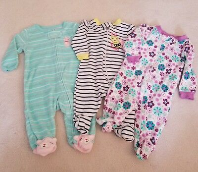 LOT Baby Girls 0-3M month clothes Carters footed sleepers sleep n play zip