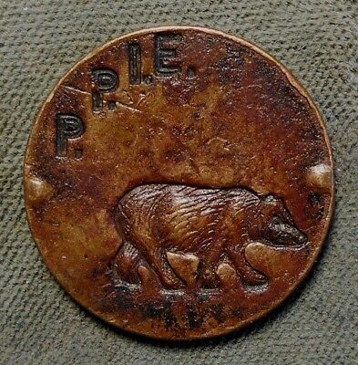 1915 San Francisco Ppie Panama Pacific Expo Naughty Bears Souvenir Spinner Token