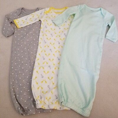 LOT Neutral Baby 0-3M month clothes Carters sleeper gowns unisex girl boy