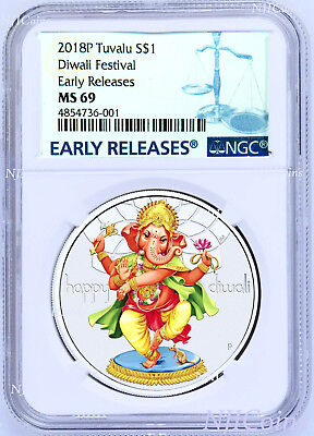 2018 TUVALU Diwali Festival 1oz Silver $1 Coin NGC MS69 Early Releases