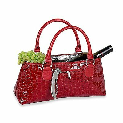 """Luxury 13"""" Red CrocThermal Insulated Wine Clutch Purse"""
