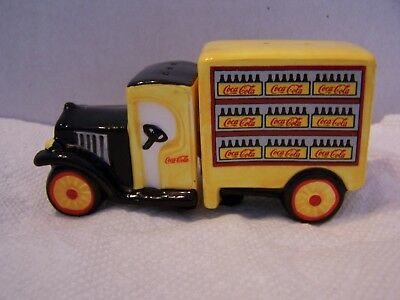 Vintage Coca Cola Salt & Pepper Shakers Yellow Delivery Truck  NOS