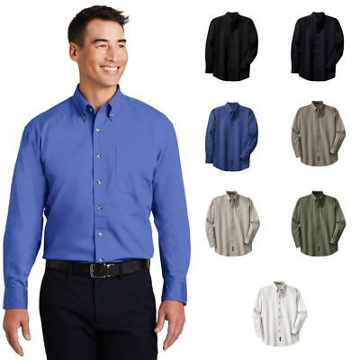 c7662459fc9 Port Authority Mens Tall Long Sleeve Twill Shirt Comfort 100% Cotton TLS600T