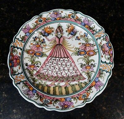 Greek Skyros Hand Painted Platter Wall Plate Woman with Flowers & Fruits