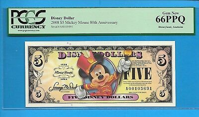 2008 $5 Mickey Mouse:80th Anniversary Disney Dollar PCGS 66PPQ #A00105691