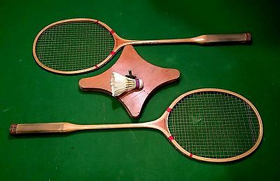 Antique Spalding Badminton Wood Rackets W/press & Shuttle Cock Vintage Usa