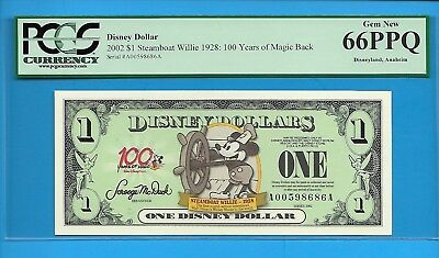 2002 $1 Steamboat Willie:100 Years of Magic Disney Dollar PCGS 66PPQ #A00598686A