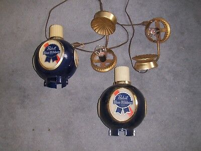 Two Vintage Pabst Blue Ribbon Beer PBR Globe Wall Sconce Bar Lights Man Cave