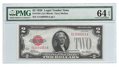 1928 $2 Legal Tender, Us Note, Pmg Choice Uncirculated 64 Epq Banknote