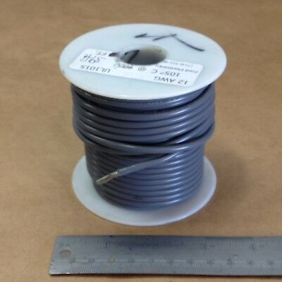 ( 39' Spool) UL1015 / 1230 (12Awg) Gray Cable Wire Stranded 600V AWM MTW TEW CSA