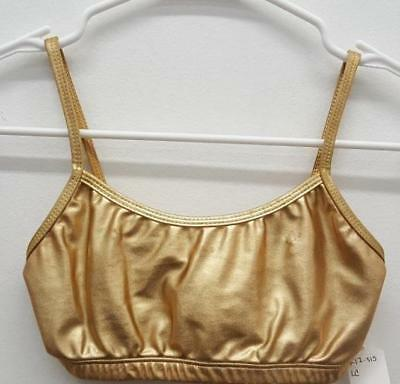 Dance Bra Top Large Child Gold Metallic by Natalie Ballet Jazz Tap Gymnastics