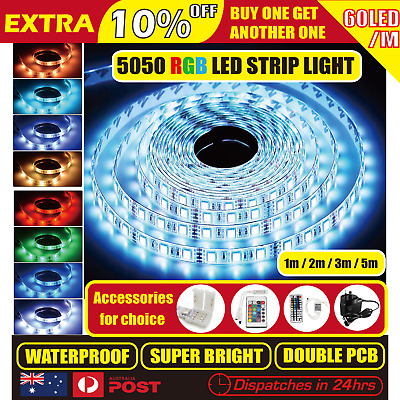 LED Strip Light Flexible 5050 RGB SMD Waterproof 12V IR Controller Power Adapter