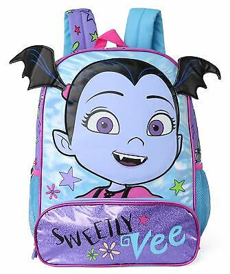 Disney Vampirina Girls School Backpack Book Bag with Bat Ears Large Purple Kids