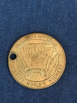 Vintage BOULDER HOOVER DAM 727 FEET WORLD'S HIGHEST coin key chain 32MM