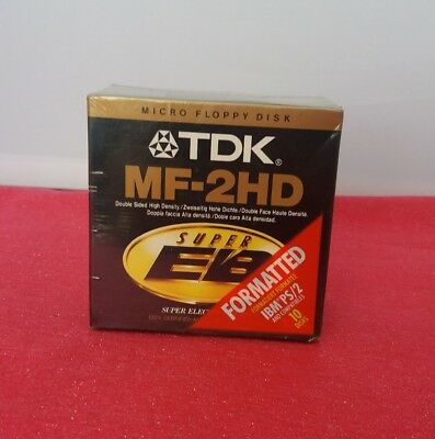 Micro Floppy Disks Diskettes 3.5 TDK MF2HD 10 Disks Super EB Formatted NIB