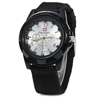 New Outdoor Black/Silver Mens Stainless Steel Army Sports Analog Military Watch