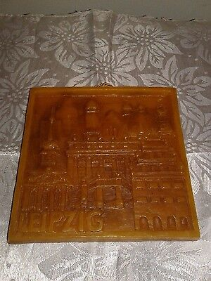 """Vintage Leipzig Germany Amber Carved Wax Picture 5 7/8"""" Square"""