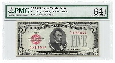 1928 $5 Legal Tender, Us Note, Pmg Choice Uncirculated 64 Epq Banknote, Ca Block