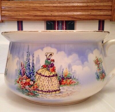 Vintage Falcon Ware England Chamber Pot Hand Painted Lady Garden Rare
