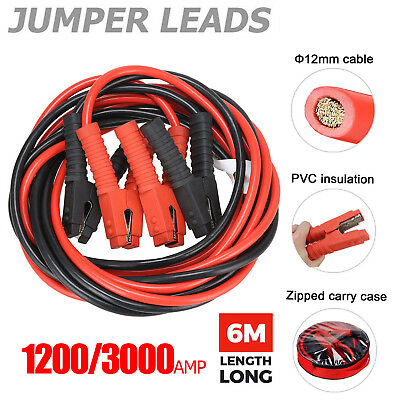 1200/3000AMP Jumper Leads 6M Long Heavy Duty Jump Booster Cables