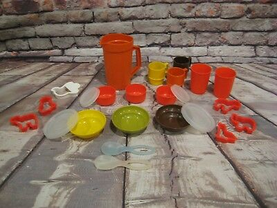 TupperKids TUPPERWARE Toys Play Dishes Mini Kids Set Vintage Cups Plates Pitcher