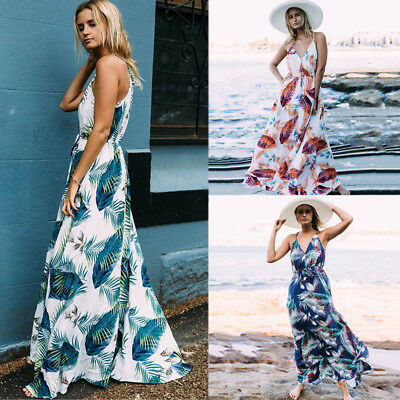 Womens Boho Long Maxi Dress Floral Summer Party Evening Beach Sundress Plus Size