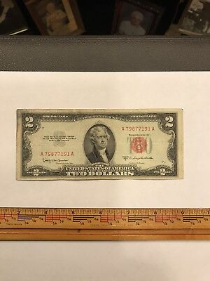 """1953-C TWO DOLLARS """"UNITED STATES NOTE"""" (RED SEAL) $2 FINE Very Crisp COOL #"""