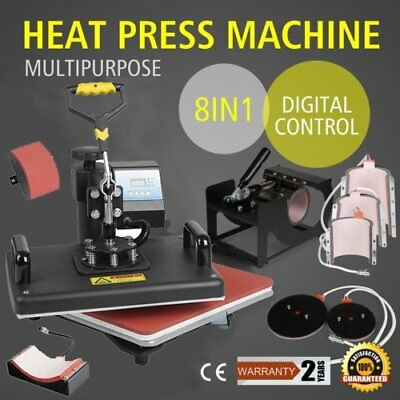 8In1 Digital Heat Press Machine T-Shirt Mug Transfer Sublimation Vinyl Printing&
