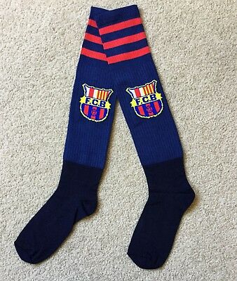 FC Barcelona Soccer Socks Dark Blue Fit Children To Adult Brand New.