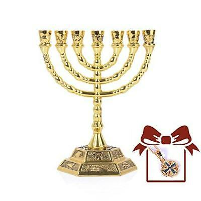 12 Tribes of Israel Menorah, Jerusalem Temple 7 Branch Jewish Candle Holder (5