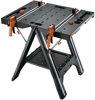 Worx Work Table Bench Sawhorse Saw Horse Clamps Holding Pegs WX051 Foldable