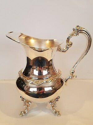 Silver plated VINTAGE SHERIDAN Ornate Footed WATER PITCHER Floral w/ Ice Stopper
