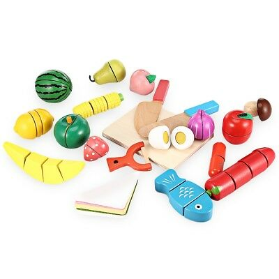 New 20pcs Wooden Cutting Fruits and Vegetables Toy