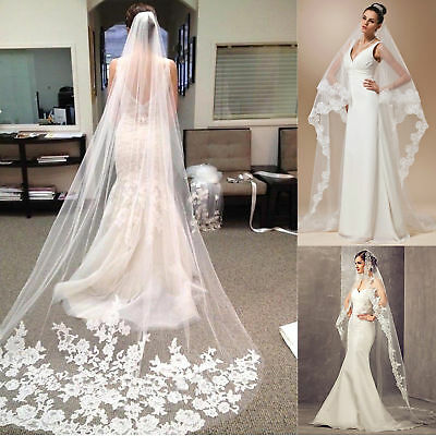 3M 1T Cathedral  Long Wedding Bridal Bride Veil Applique with Comb White Ivory