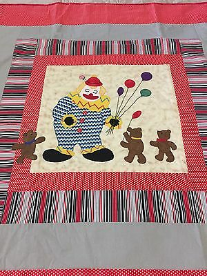 """Handmade patchwork quilt 'clown And Bears ' With Appliqué  47"""" X 46"""""""
