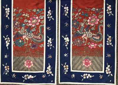 Pair Vintage Red & Blue Chinese Embroidery Panel