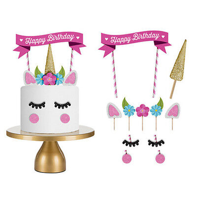 1Set Cartoon Unicorn Happy Birthday Cake Topper Banner Decor Candle Party DIY