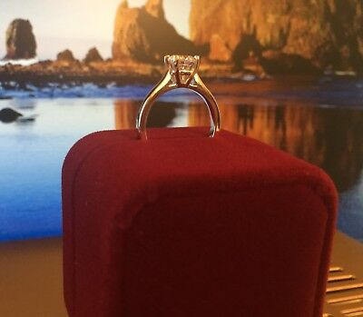 1 Ct Round Cut Diamond Solitaire Engagement Ring 14K White Gold Enhanced