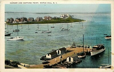 Rhode Island Postcard: Harbor And Neptune Point, Watch Hill, R.i.