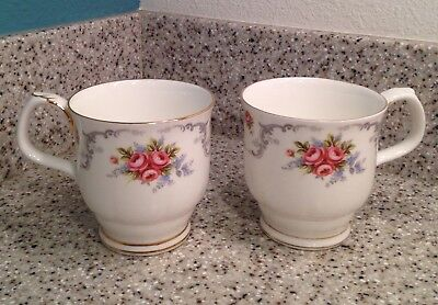 """ROYAL ALBERT England TRANQUILITY Pattern 3 1/2"""" Footed COFFEE MUGS Set of 2"""