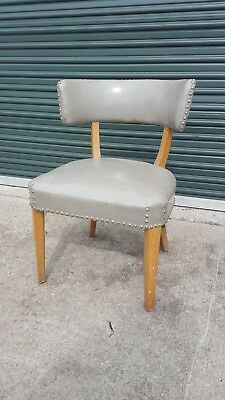 Vintage Mid Century Vinyl Bedroom Side Accent Occasional Chair Seat Stool Bench
