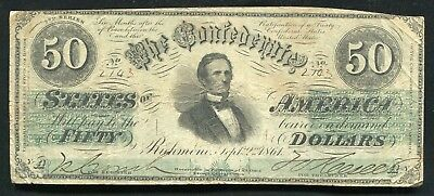 T-16 1861 $50 Fifty Dollars Csa Confederate States Of America Currency Note