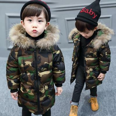 Boys Kids Camouflage Warm Cotton Padded Long Parka Jacket Fur Hooded Coat Hot