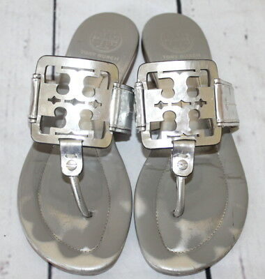 656995b72fdb9 TORY BURCH 🌷 Miller Square Logo Metallic Silver 🌷 Leather Sandals Size 7 M