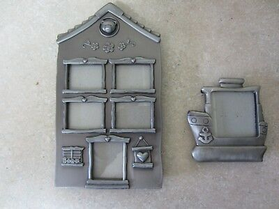 (2) Pewter Child's Picture Frames, Extensive Details (i.e. Bear Head) 6 Pictures