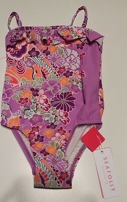 New Seafolly Girls Swim One Piece Swimsuit Purple Floral Size 2