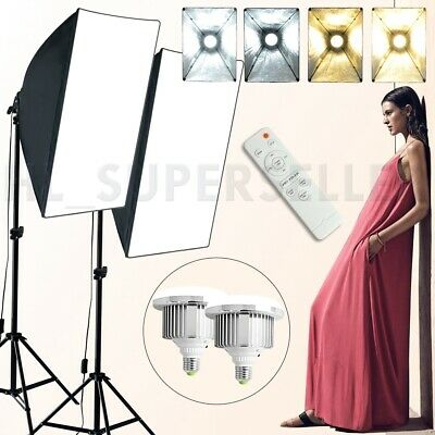 Photo Dimmable LED Softbox Soft Box Lighting Warm/Natural/White Light Stand Kit